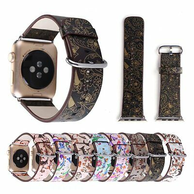 Genuine Leather Flowers Pattern Band Strap for Apple Watch 38mm/42mm iWatch