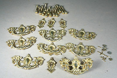 Fire-gilded Ornate Solid Brass Drawer Pulls, 8 Pulls & 4 Escutcheons