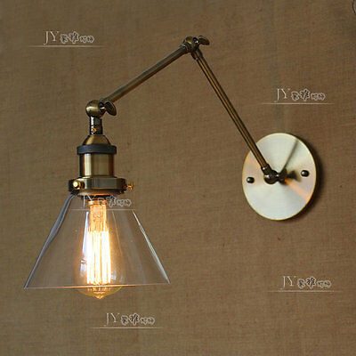 20TH C. Library Light Clear Glass Swing Arm Sconce Antique Brass Wall Lamp