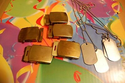 Lot of 5 Solid Brass Belt Buckle Plain Military Boy Style