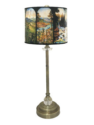 "Royal Designs 28"" Buffet Lamp w/ Four Seasons Stained Glass Hardback Lamp Shade"