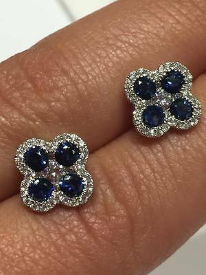 18ct white gold 0.43CT FVS diamonds and 1.17ct blue sapphire stud earrings GOY74