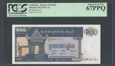 "Cambodia 100 Riel 1963-72 Pick# 12b PCGS: 67 PPQ ""Superb Gem New""(#936)"