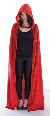 Red Riding Hood Velvet Hooded Cloak Cape Long Vampire Halloween Fancy Dress