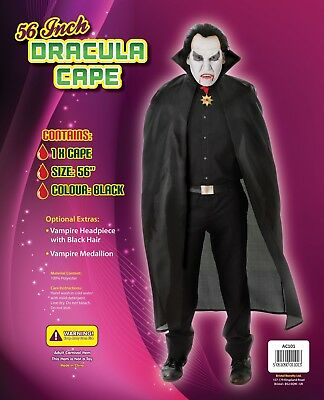Mens Ladies Long Black Cape Cloak Vampire Dracula Fancy Dress Halloween New
