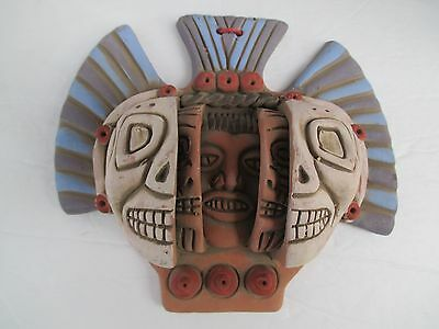 Mexican Aztec 3 Ages  Man Face Reproduction Mayan Colored Pottery Art Decor 4193