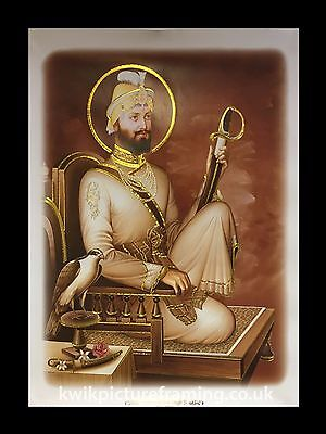 "Guru Gobind Singh Ji In Sepia Picture Framed - 16"" X 12"" inches Photo Framing"