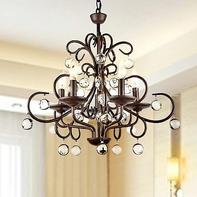 Crystal Chandelier Lighting Fixture 5 Light Rustic Wrought Iron Pendant Lamp