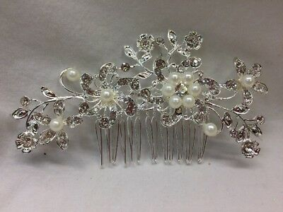 Charm Wedding Bridal Rhinestone Crystal Pearl Hair Clip Comb Accessories 079 C
