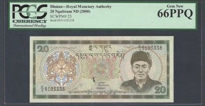 "Bhutan 20 Ngultrum 2000 Pick# 23 PCGS: 66 PPQ ""Gem New""(#941)"