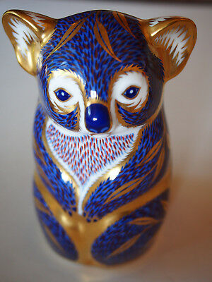 "Fine Royal Crown Derby Koala Bear Figurine Blue Gold Imari Paperweight 4.5"" Vtg"