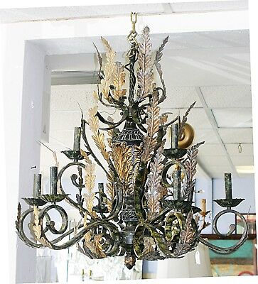 Vintage Decorative Wrought Iron  Brass Overlaid Designs Chandelier free shipping