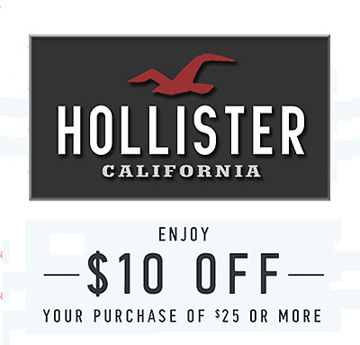 $10 off $25 HOLLISTER Coupon Code Clearance Sale Online Instore Expire 12/17/17