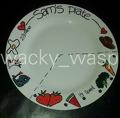 """Personalised diet world Slimming portion control plate healthy eating 10.5"""""""