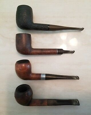 Lot Of 4 - Vintage Briar Wood Tabacco Estate Pipes!! Suffolk, Rolfe, Shell, Etc!