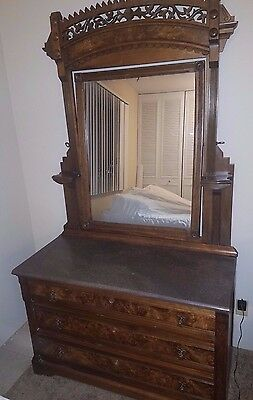 Beautiful Antique Eastlake Marble Top Dresser w/ Mirror!  Refinished!  MUST SEE