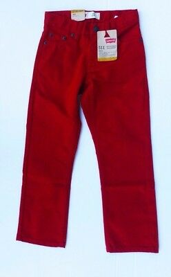 Levis 511 Unisex Size 6 Red Adjustable Waist Slim Fit Jeans New With Tags