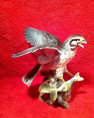 Vintage Majolica Hawk with Fish Bird of Prey Figurine, fm865  GIFT QUALITY!!