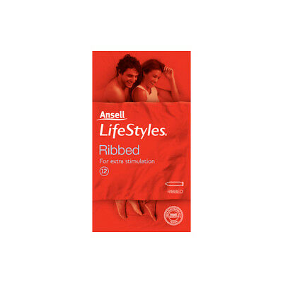 NEW Ansell Lifestyles Condom Ribbed 12 Pack Condoms Contraceptives