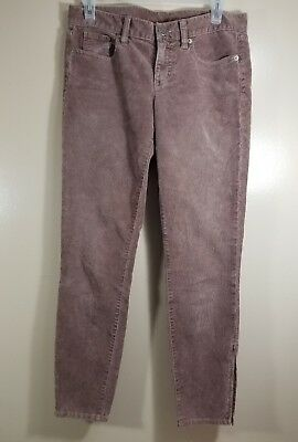 J. Crew Women's Toothpick Corduroy Pants Zip Ankle Leg Brown Size 26 Skinny