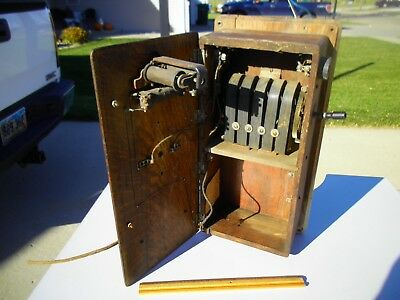 Antique 1900s Western Electric Kellog Oak Wall Mounted Hand Crank Telephone Case