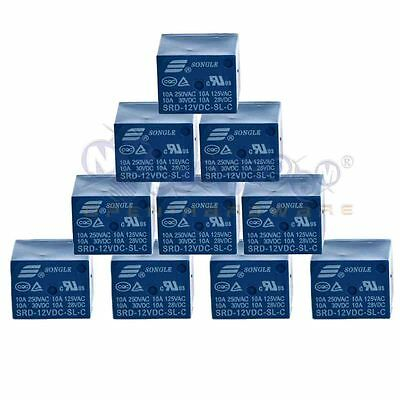 12V DC 10PCS 5Pins RELAY Coil Power Relay PCB SRD-12VDC-SL-C 2J2 US Stock