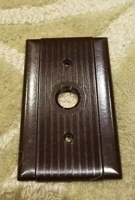 Vintage NOS Bryant Uniline Pushbutton Bakelite Brown Ribbed Single Switch Plate