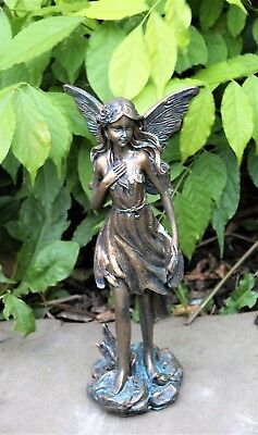 Magical Fairy Garden Ornament Bronze effect Figurine Angel Statue Gift 26cm