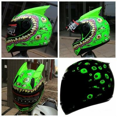 Evil Eyes Pattern Motorcycle Helmet Scooter Shockproof for Kawasaki M/L/XL/XXL