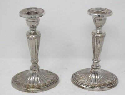 Pair of Silver Plate Column Candlesticks with Large Oval Base...Unknown Maker