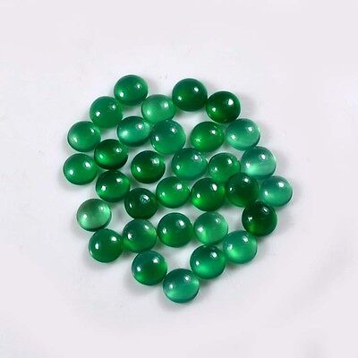 AAA Quality 32 Pc Natural Green Onyx 5x5 mm Round Cabochon Loose Gemstone A38835