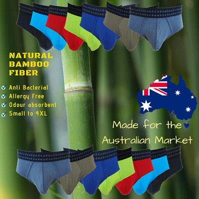 Mens Organic Underwear Bamboo Briefs S to 4XL Breathable Light and Fast Dry