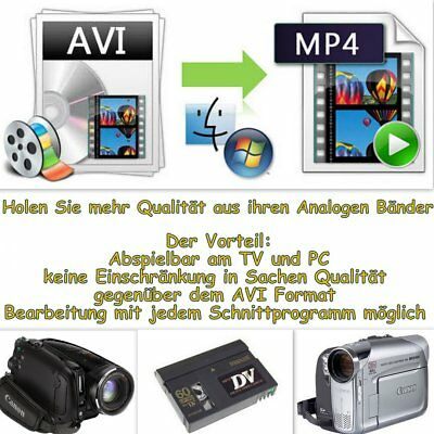 mp4 Format - 100 Bänder MiniDV / Hi8 / Digital8 / VHS als Mp4-Datei inkl Datendv