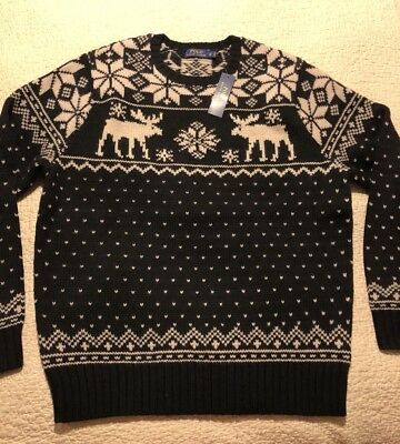 5673670dd ... australia polo ralph lauren intarsia reindeer moose christmas holiday  sweater xlt 325.00 15b2c 475c5