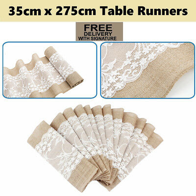 Hessian Lace Table Runner Burlap Rustic Vintage Wedding Party Decorations New