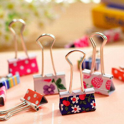 6X Flower Printed Metal Binder Clips Notes Paper Clip Office Tool 19 X 37mm GS