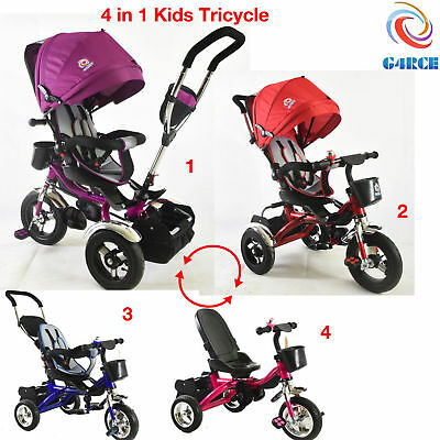 Premium 4 in1 Kids Children Baby Trike Tricycle Stroller Buggy 3 Wheel Ride Bike