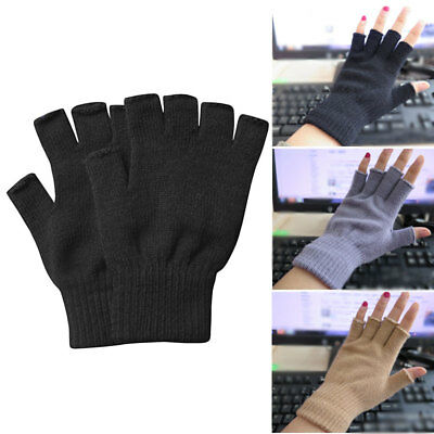 Women Men Soft Half Finger Gloves Winter Warmer Knitted Mittens Fingerless US