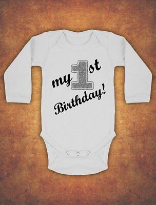 My First 1st Birthday Baby Kids Body Suit Vest Boy long sleeve Glitter Silver