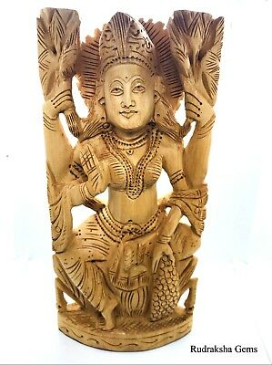 "8"" Laxmi Lakshmi Maa Goddess Of Wealth Wooden Artisan Carved Hindu Idol Statue"
