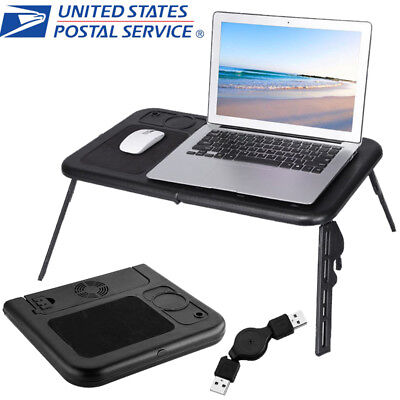 Portable Laptop Desk Lap Table with Cooling Fan Bed Tray Computer Folding Stand