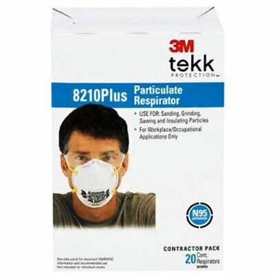 3M Safety Masks Dust Particulate Respirators 8210 Plus N95 20-pack Made in USA