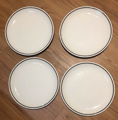 "Buffalo China 4 Dinner Plates White Black  Stripes 9.75"" Plates Diner Ware"