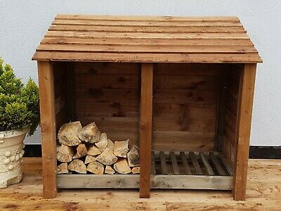 Log Store Wooden Outdoor Garden Shed W-1460mm x H-1260mm x D-810mm **Clearance**