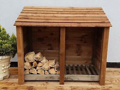 **clearance** Heavy Duty 4 Ft Tall Double Bay Large Wooden Log Store