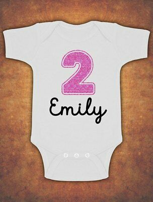 Personalised 2nd Birthday  Second Cute Baby Kids  Body Suit Vest Glitter Girl