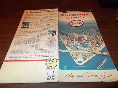 1960 Esso Pittsburgh Vintage Road Map
