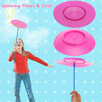 AU Kid Pink Plastic Spinning Plate Trick Juggling Stick Prop Toy Magic Circus