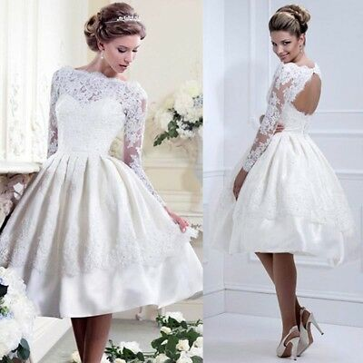 UK Women's Lace Cocktail Prom Gown Evening Party Bridesmaid Bridal Wedding Dress