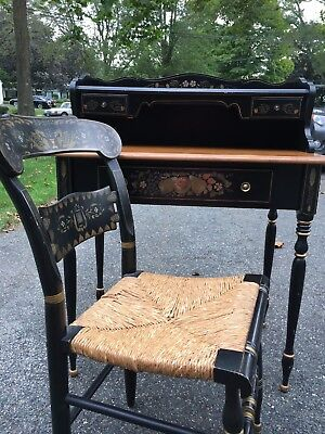 Ethan Allen Ladies Writing Desk and Chair, Hitchcock Style